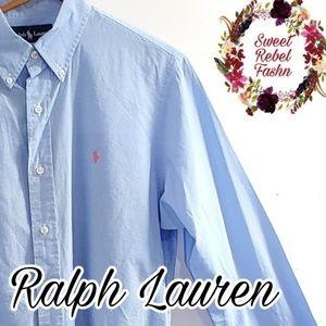 Ralph Lauren blue gingham button up large
